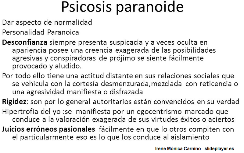 psicosis paranoica