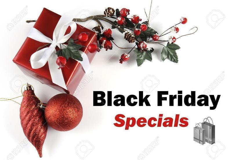 Black Friday Specials sale message greeting with Christmas gift and decorations on White background.